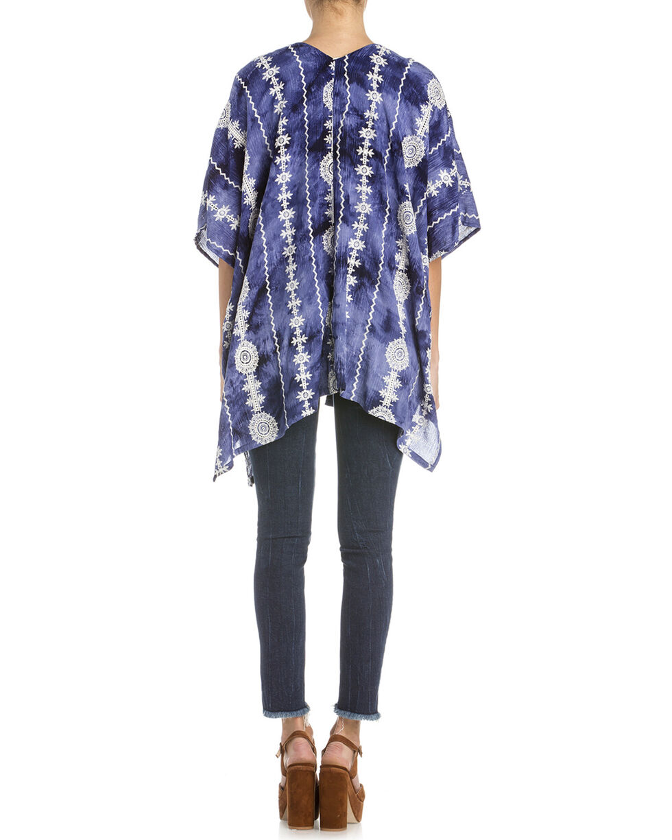 Miss Me Women's Aztec Tie Dye Short Sleeve Kimono, Navy, hi-res