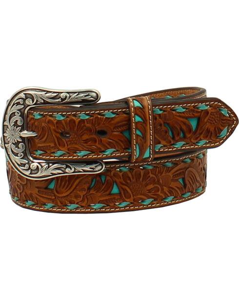 Nocona Women's Brown Embossed Turquoise Inlay Belt, Turquoise, hi-res