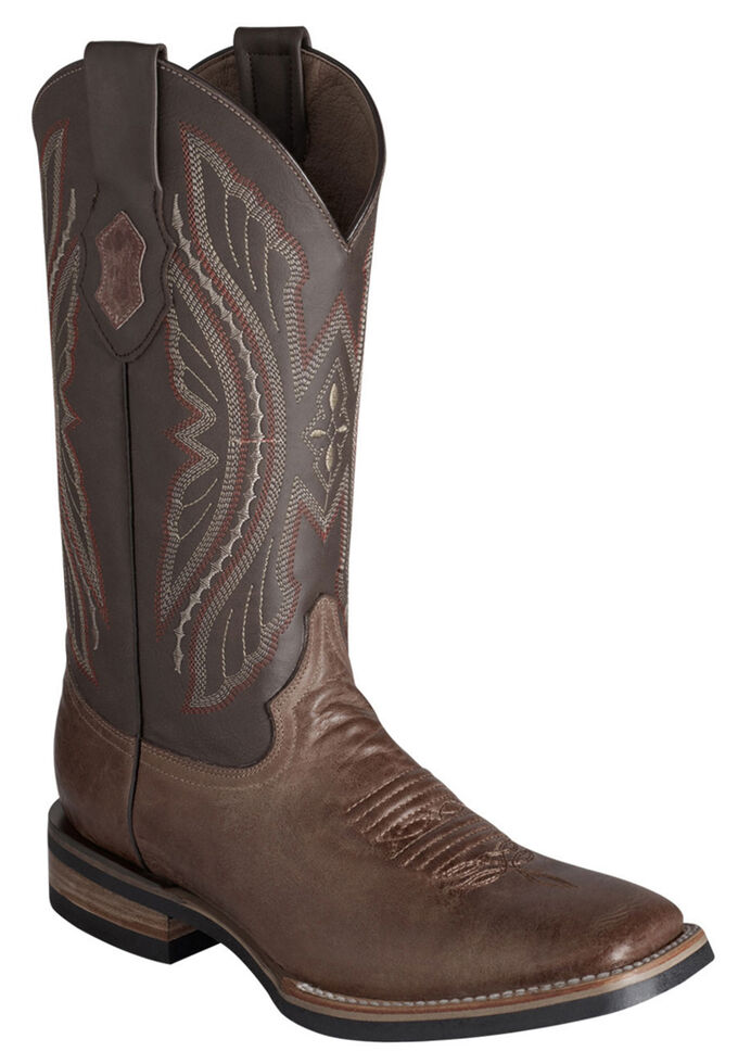 Ferrini Distressed Kangaroo Cowgirl Boots - Wide Square Toe, Chocolate, hi-res