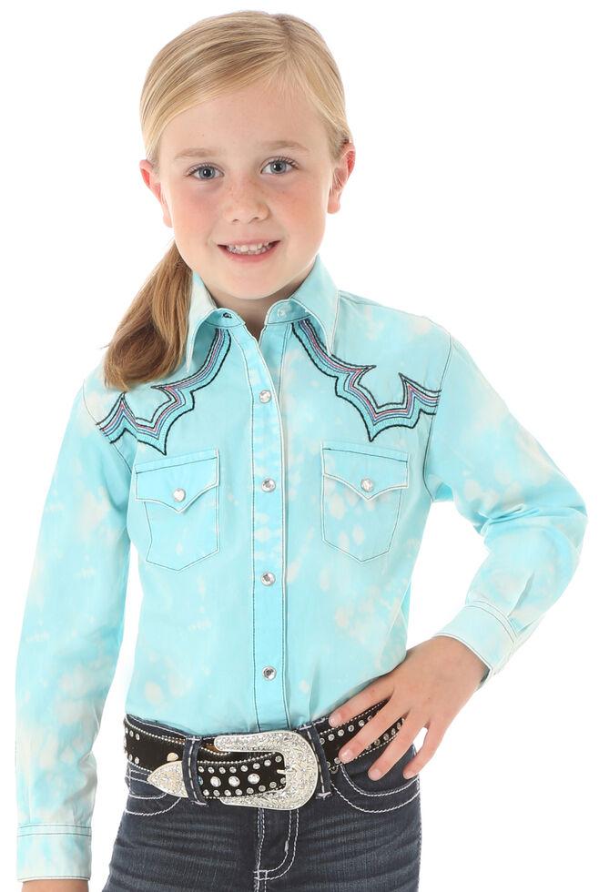 54491d32c24 Wrangler Rock 47 Girls  Long Sleeve Sky Blue Embroidered Shirt ...