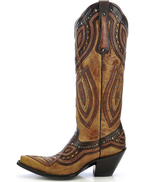 Corral Studded Overlay Cowgirl Boots - Snip Toe, Antique Saddle, hi-res
