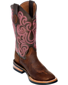 Ferrini Maverick Cowgirl Boots - Square Toe, Chocolate, hi-res