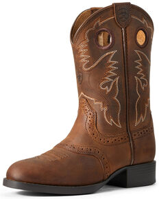 Ariat Youth Boys' Heritage Stockman Western Boots - Round Toe, Brown, hi-res