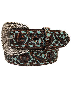 Roper Women's Dark Brown Floral Overlay Leather Belt , Dark Brown, hi-res