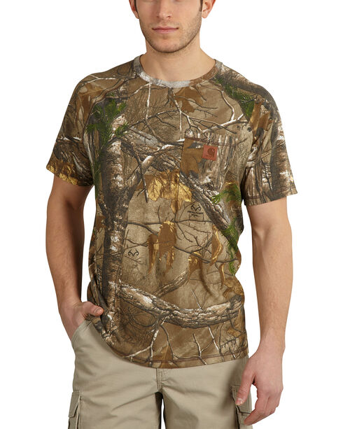 Carhartt Force Delmont Camo Short Sleeve Shirt, Camouflage, hi-res