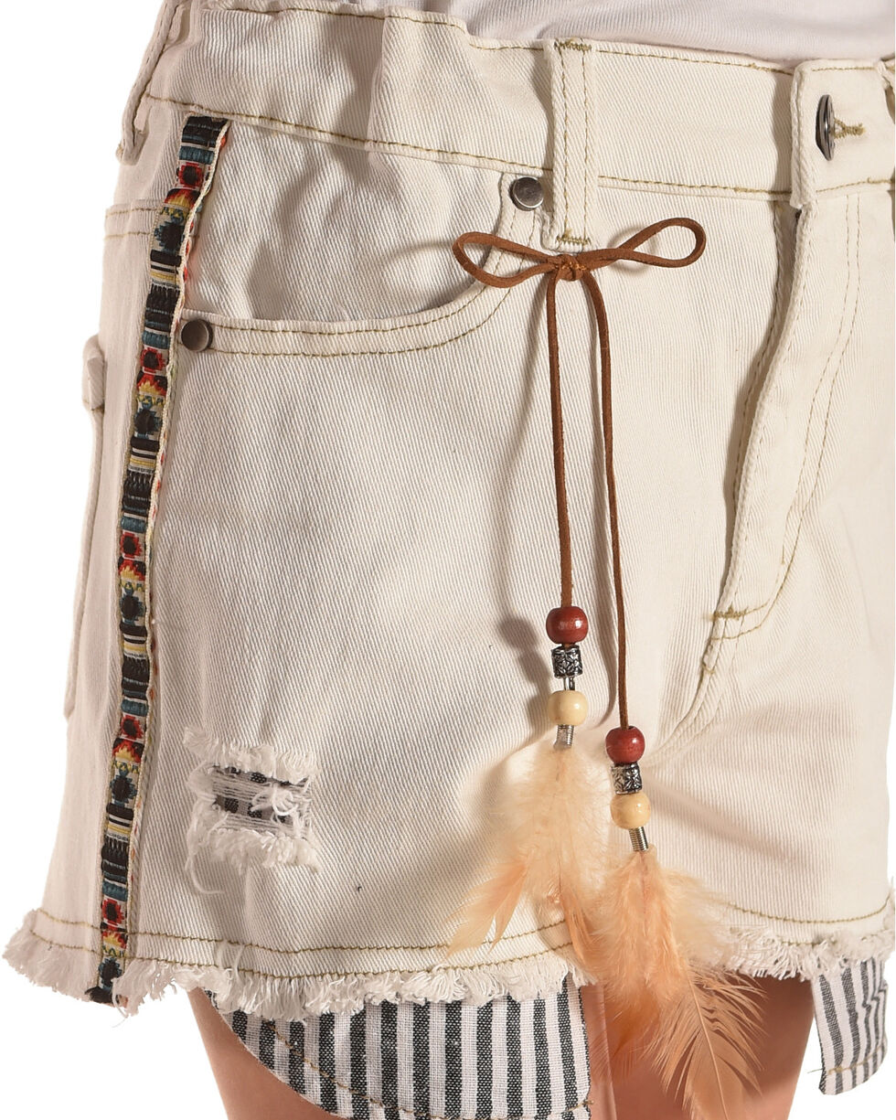 Idol Mind Girls' Embroidered Denim Shorts, Ivory, hi-res