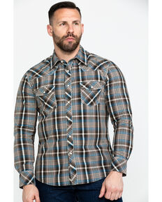 Rock & Roll Denim Men's Teal Washed Yarn Dye Plaid Short Sleeve Western Shirt  , Teal, hi-res