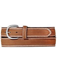 Tony Lama Men's Double Stitch Stockman Belt, Tan, hi-res