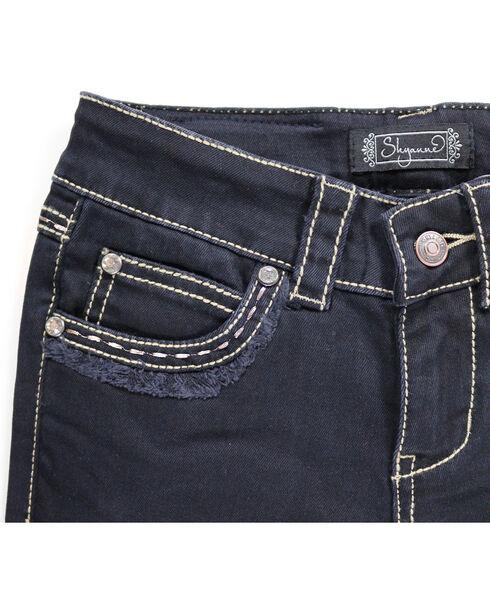 Shyanne Girl's Black Fringe Hem Jeans - Boot Cut, Black, hi-res