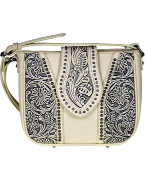 Montana West Trinity Ranch Genuine Tooled Leather Cross Body Purse , Beige/khaki, hi-res