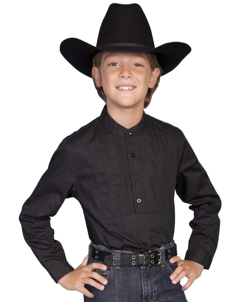 Scully Boys' Tuxedo Front Shirt, Black, hi-res