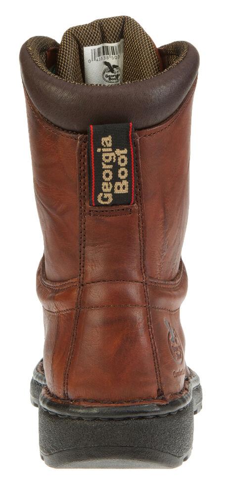 "Georgia Men's 8"" Eagle Light Lace-Up Work Boots - Round Toe, Russet, hi-res"