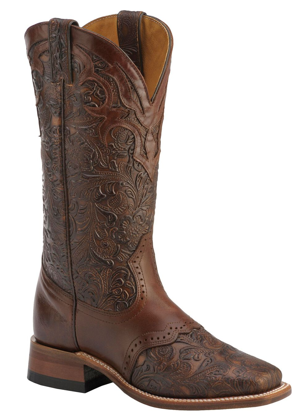 Boulet Hand Tooled Ranger Cowgirl Boots - Square Toe, Chestnut, hi-res