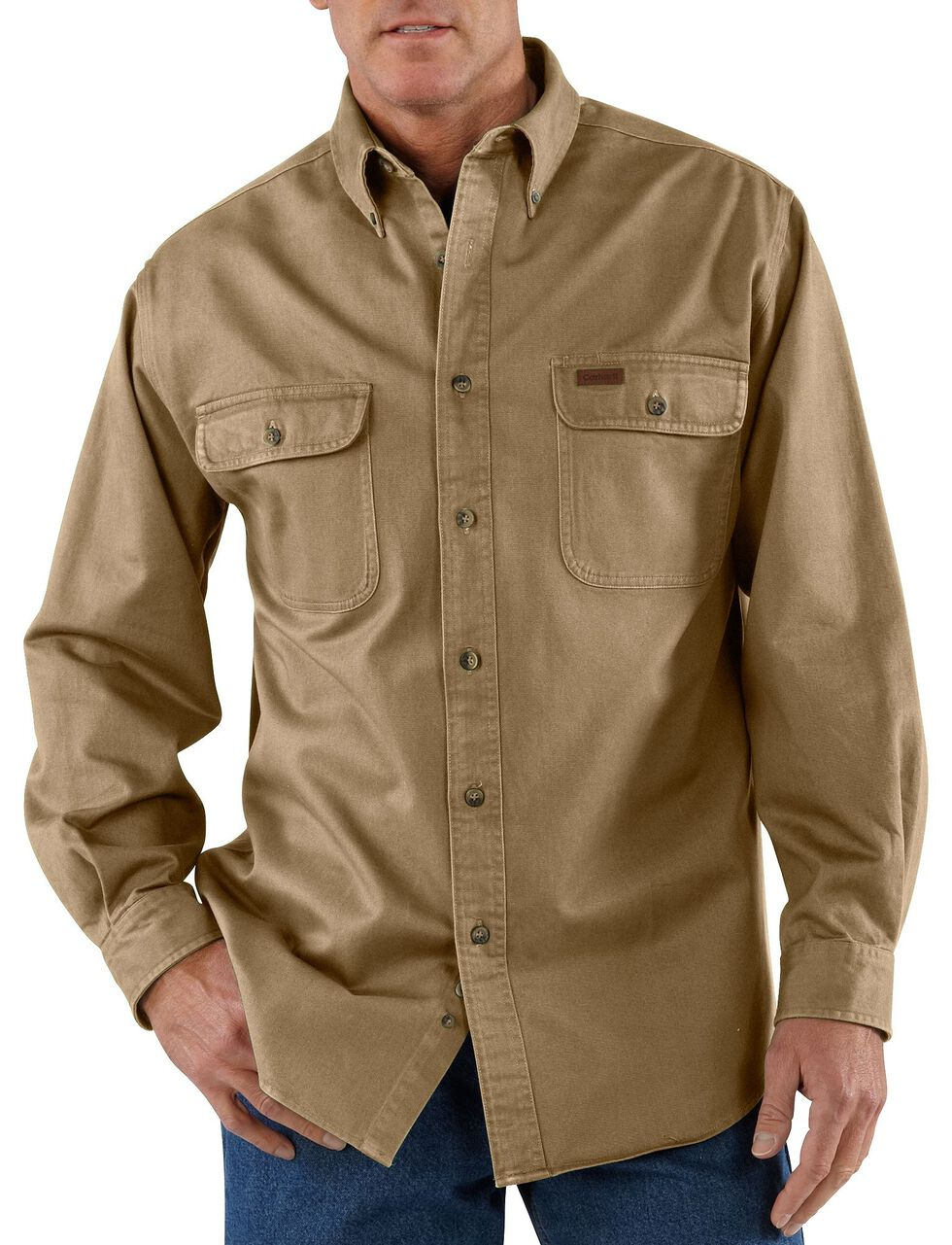 Carhartt Sandstone Twill Work Shirt, Stone, hi-res