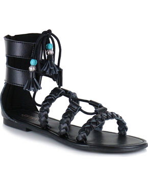 Shyanne Women's Tassel Lace-Up Sandal, Black, hi-res
