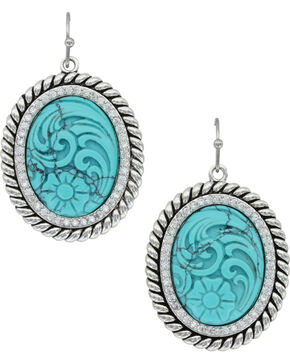 Montana Silversmiths Women's Carved Legacy Turquoise Earrings , Silver, hi-res