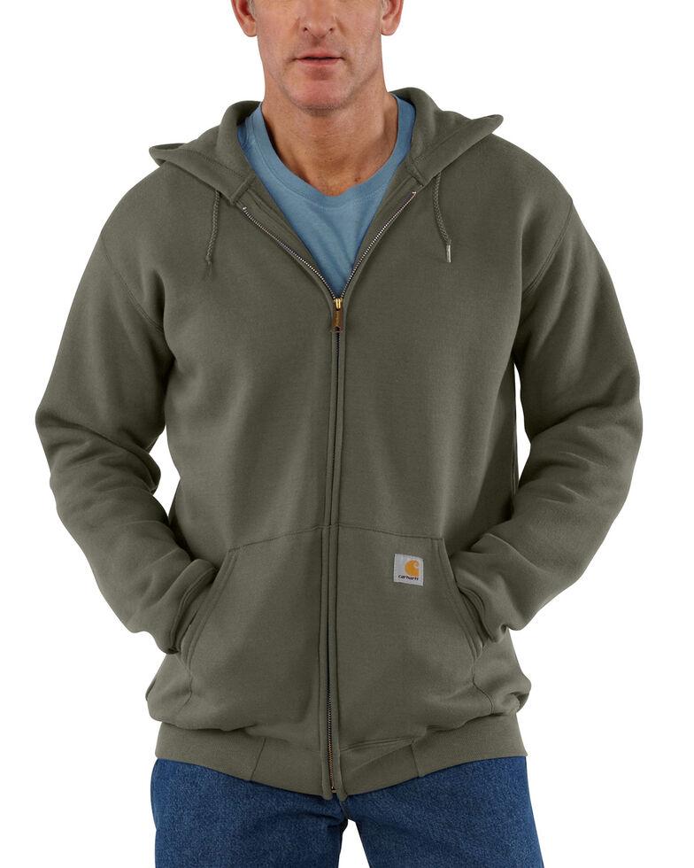 Carhartt Men's Hooded Zip Front Work Hooded Sweatshirt - Big & Tall, Moss Green, hi-res