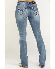 """Miss Me Women's Blue Dreamcatcher 34"""" Bootcut Jeans, Blue, hi-res"""