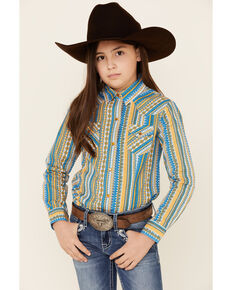Cruel Girl Girls' Multi Striped Snap Long Sleeve Western Shirt , Purple, hi-res
