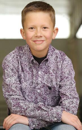 Cinch Boy's Purple Paisley Long Sleeve Shirt , Purple, hi-res