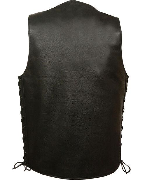 Milwaukee Leather Men's Straight Bottom Side Lace Vest - 3X, Black, hi-res