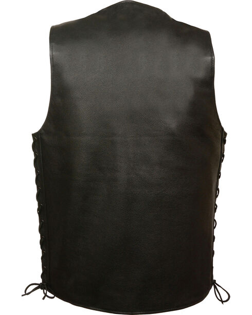 Milwaukee Leather Men's Straight Bottom Side Lace Vest - 5X, Black, hi-res