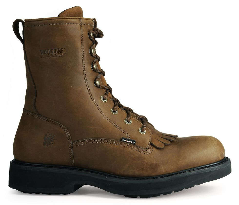 """Wolverine Ingham DuraShocks Lace-Up 8"""" Work Boots - Round Toe, Dark Brown, hi-res"""