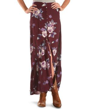 Shyanne Women's Floral Ruffle Hem Maxi Skirt, Burgundy, hi-res