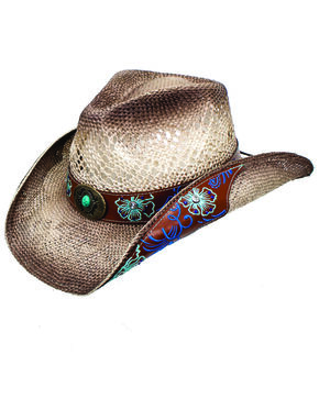 Peter Grimm Women's Floral Brooklyn Straw Western Hat, Beige/khaki, hi-res