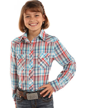 Panhandle Girls' Lurex Plaid Long Sleeve Western Snap Shirt, Blue, hi-res