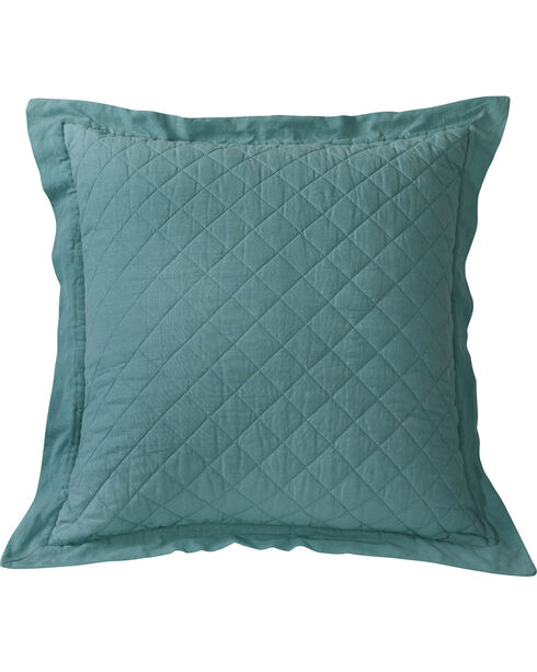 HiEnd Accents Diamond Pattern Quilted Turquoise Euro Sham, Turquoise, hi-res