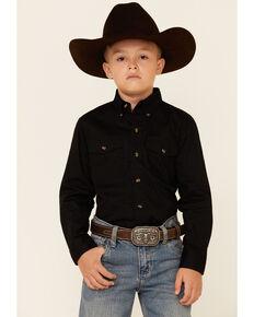 Roper Boys' Black Solid Poplin Long Sleeve Variegated Button-Down Western Shirt  , Black, hi-res