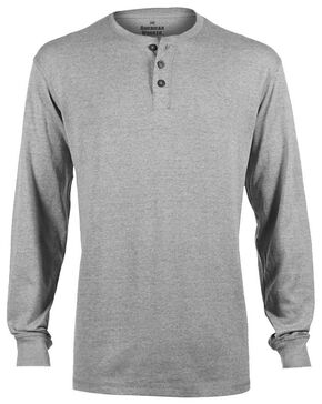 American Worker Men's Solid Heather Grey Henley, Hthr Grey, hi-res