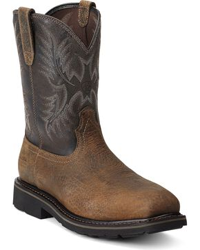 Ariat Sierra Pull-On Work Boots - Steel Toe, Earth, hi-res