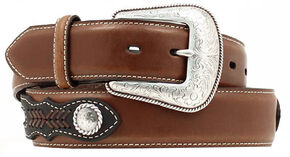 Nocona Brown Ribbon Concho Western Belt, Assorted, hi-res