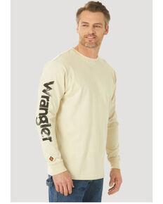 Wrangler FR Men's Lineman Flag Logo Graphic Long Sleeve Work T-Shirt - Big , Sand, hi-res