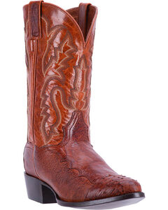 Dan Post Men's Cognac Pugh Ostrich Leather Boots - Round Toe , Cognac, hi-res