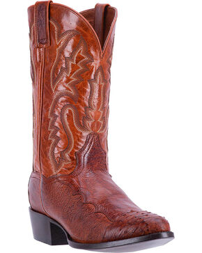 Dan Post Men's Cognac Pugh Ostrich Leather Boots - Round Toe , Cognac, hi-res