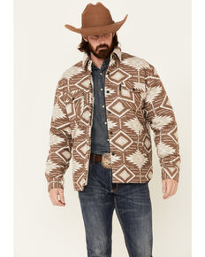 Outback Trading Co. Brown Ronan Aztec Print Snap-Front Jacket , Brown, hi-res