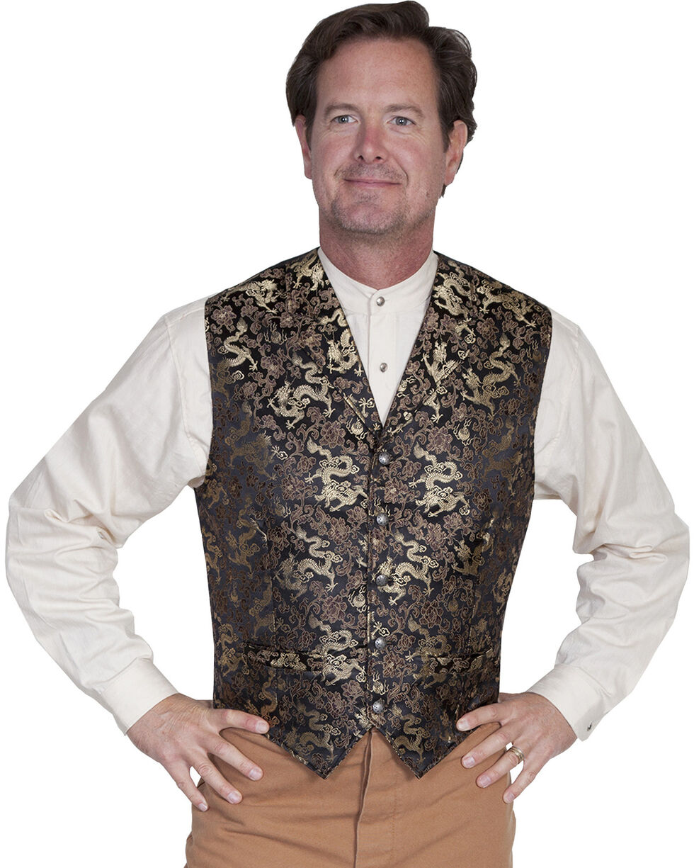 WahMaker Old West by Scully Classic Dragon Vest, Gold, hi-res
