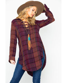 Shyanne Women's Plaid Tunic Lace Up Flannel Long Sleeve Top , Burgundy, hi-res