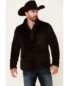 Outback Trading Co. Brown Bristol Henley Fleece 1/4 Snap Pullover , Brown, hi-res