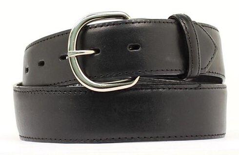 Black Leather Money Compartment Belt, Black, hi-res