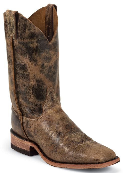Justin Bent Rail Cowboy Boots - Wide Square Toe, Tan, hi-res