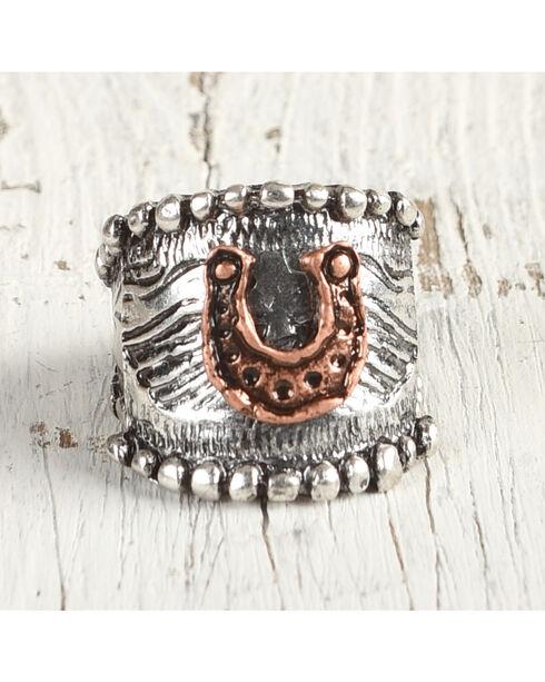Shyanne Women's Golden Horseshoe Stretch Ring, Rust Copper, hi-res