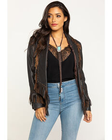 Cripple Creek Women's Stud & Fringe Leather Blazer Jacket, Chocolate, hi-res