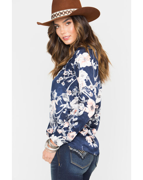 Sage The Label Women's Brown Sweet Thing Lace Up Blouse , Navy, hi-res