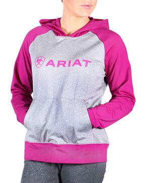 Ariat Women's Colorblock Pullover Logo Hoodie, Violet, hi-res