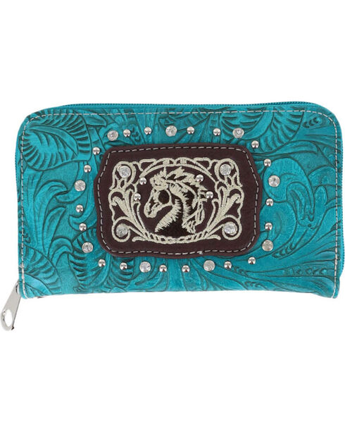 Savana Women's Horse and Floral Embossed Wallet, Turquoise, hi-res