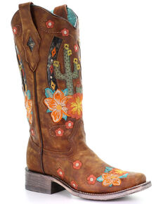 Corral Women's Honey Cactus Western Boots - Square Toe, Honey, hi-res